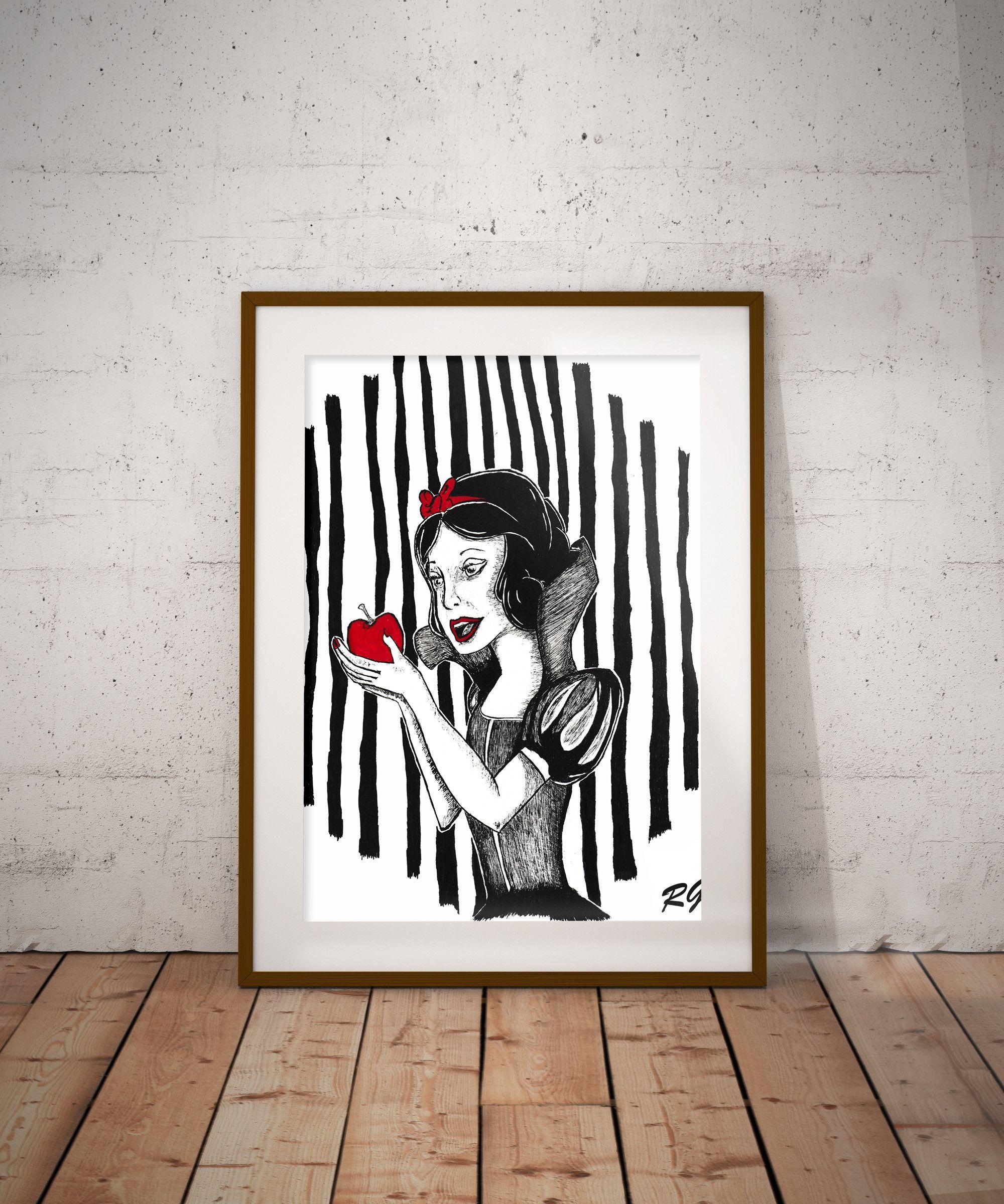Snow white dark fairy tale wall art print products