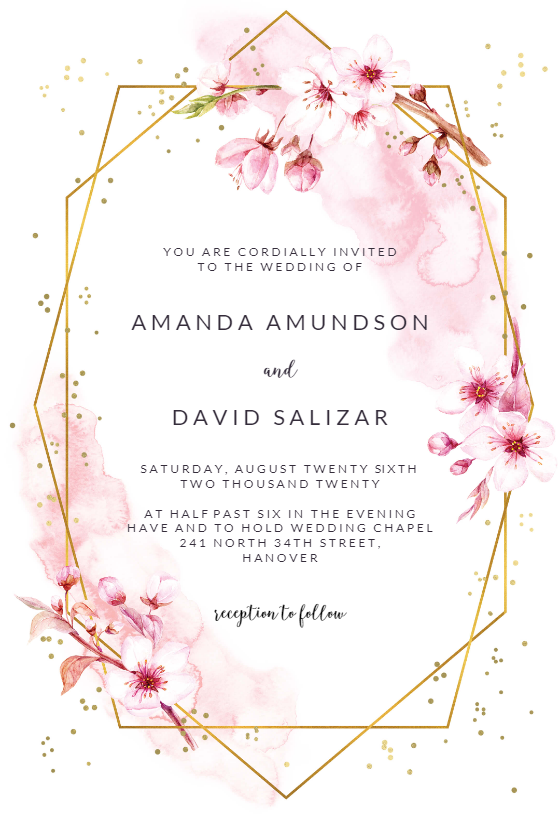 Floral Sakura Wedding Invitation Template Greetings Island Free Wedding Invitations Free Wedding Invitation Templates Wedding Invitation Templates
