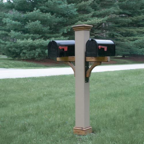 Double Texture Mailbox Post With Cedar Trim And Metal Brackets Double Mailbox Post Mailbox Post Mailbox