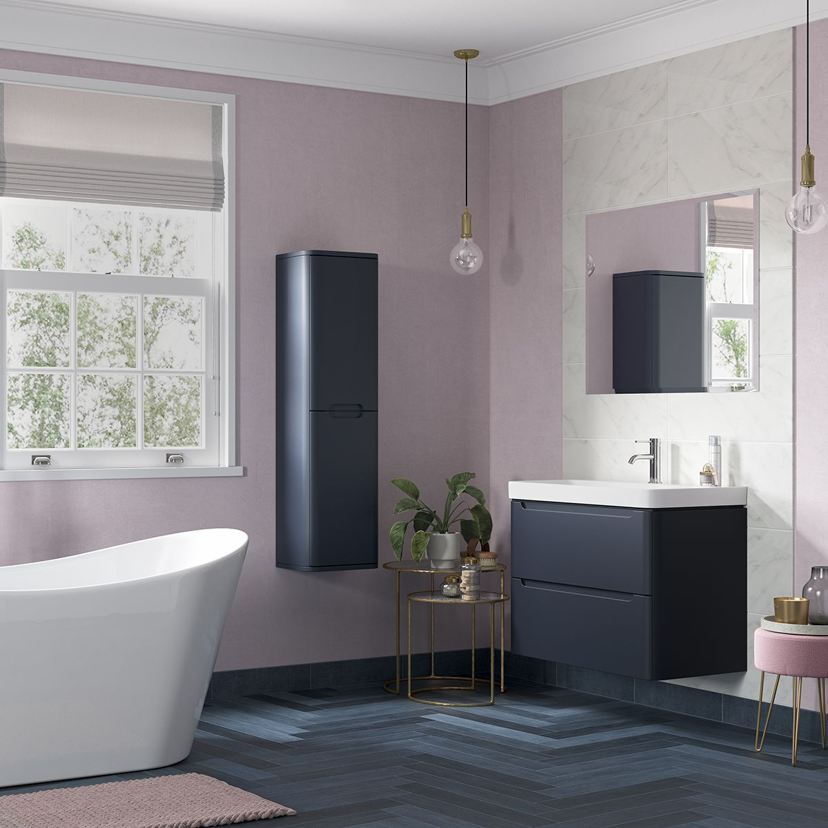 A Designer Look Doesn T Have To Cost You A Designer Price Tag Moods Lambra Range Available In Matt Indigo Ma Vanity Units Bathroom Furniture Indigo Walls