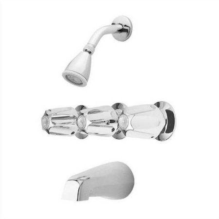 Pfister Bedford Triple Handle Tub and Shower Trim Kit with Metal Verve Handles, Polished Chrome, Multicolor