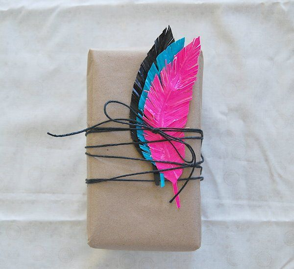 duct tape, duck tape. feathers, gift wrap, diy