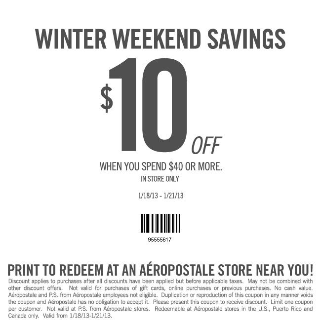 graphic relating to Aeropostale Application Printable named Aeropostale: $10 off $40 Printable Coupon Aeropostale