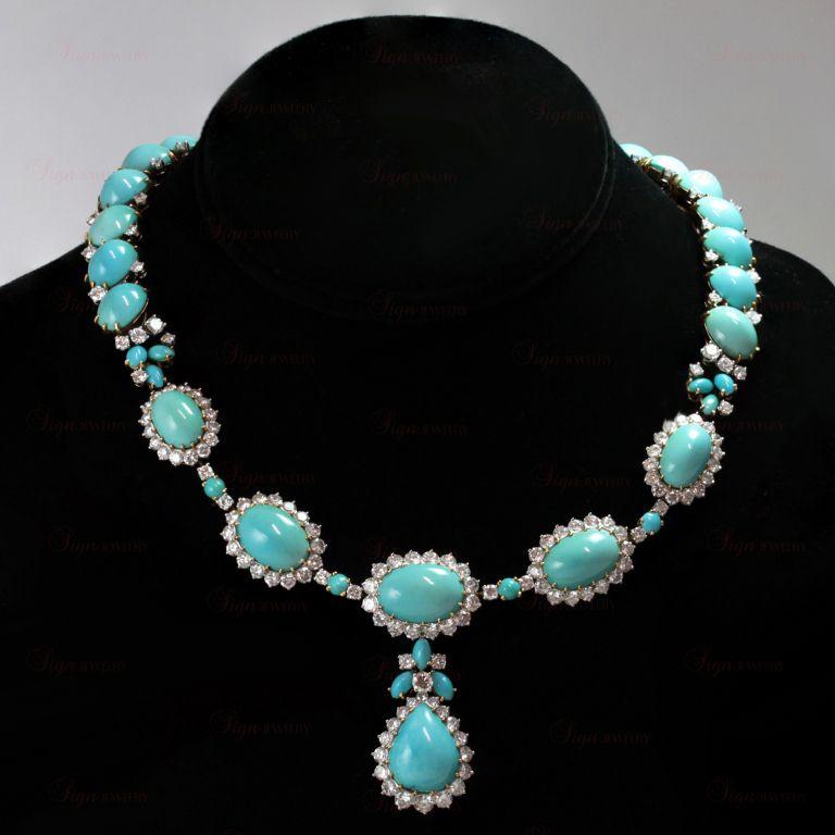 Boucheron Turquoise Diamond Necklace Earrings Ring Set 1stdibs Com Turquoise Jewelry Turquoise Stone Jewelry Turquoise Jewelry Native American