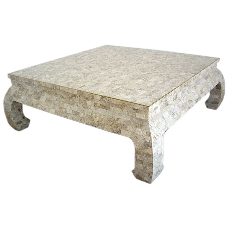 Chinese Chow Style Tail Table With Tesselated Stone