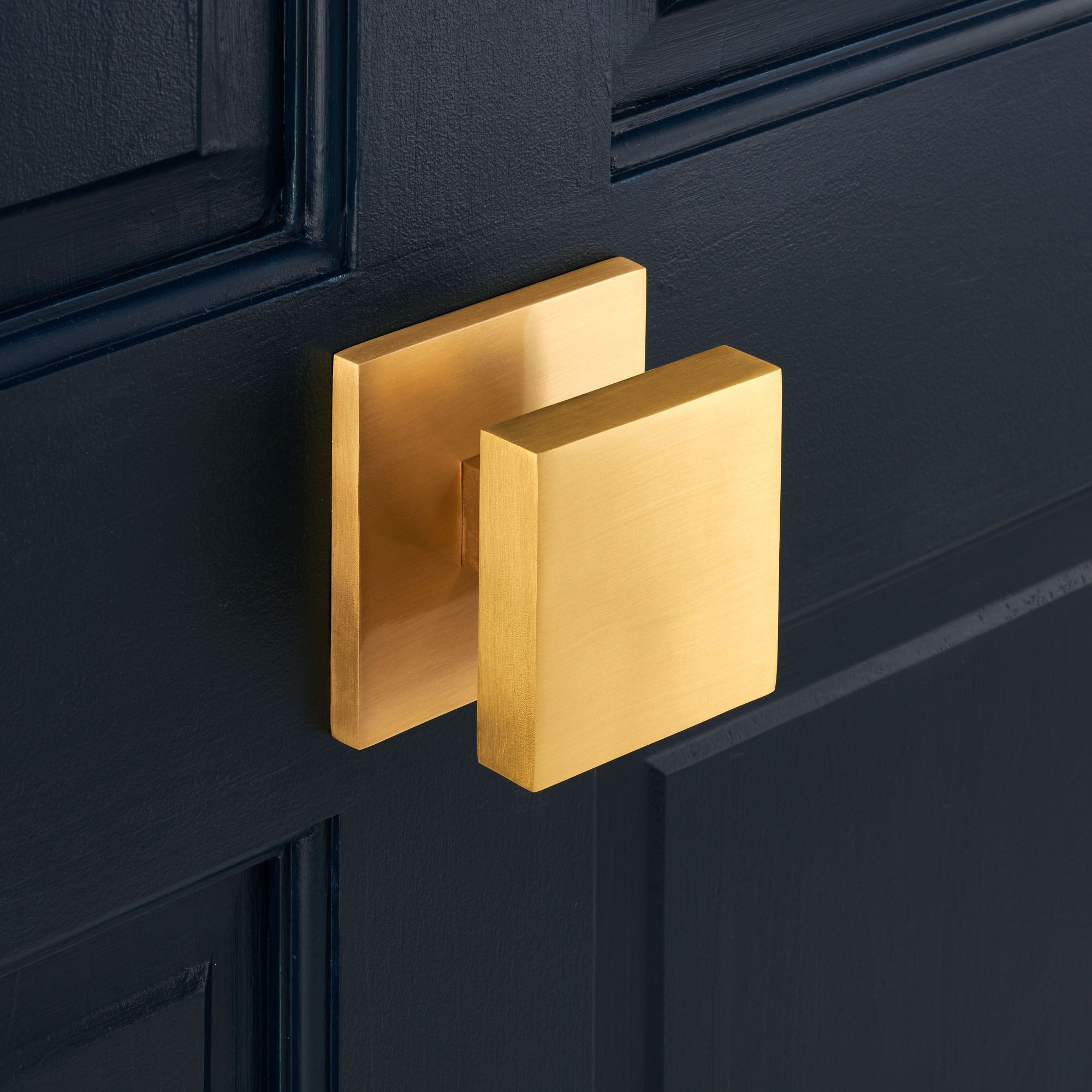Solid Brass Gold Square Centre Door Knob With Brushed Finish With A  Protective Lacquer Coating For