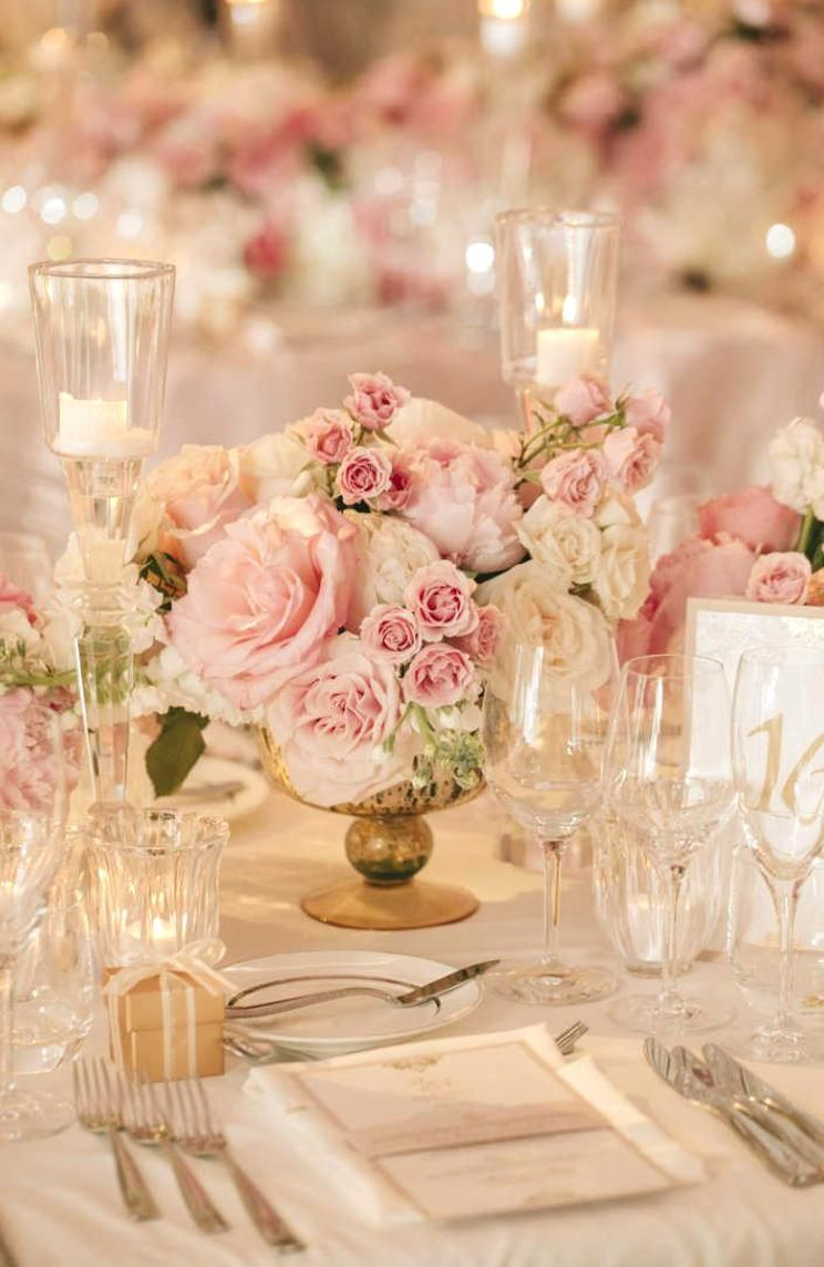 Small Pink Wedding Centrepieces Blush and Gold Wedding