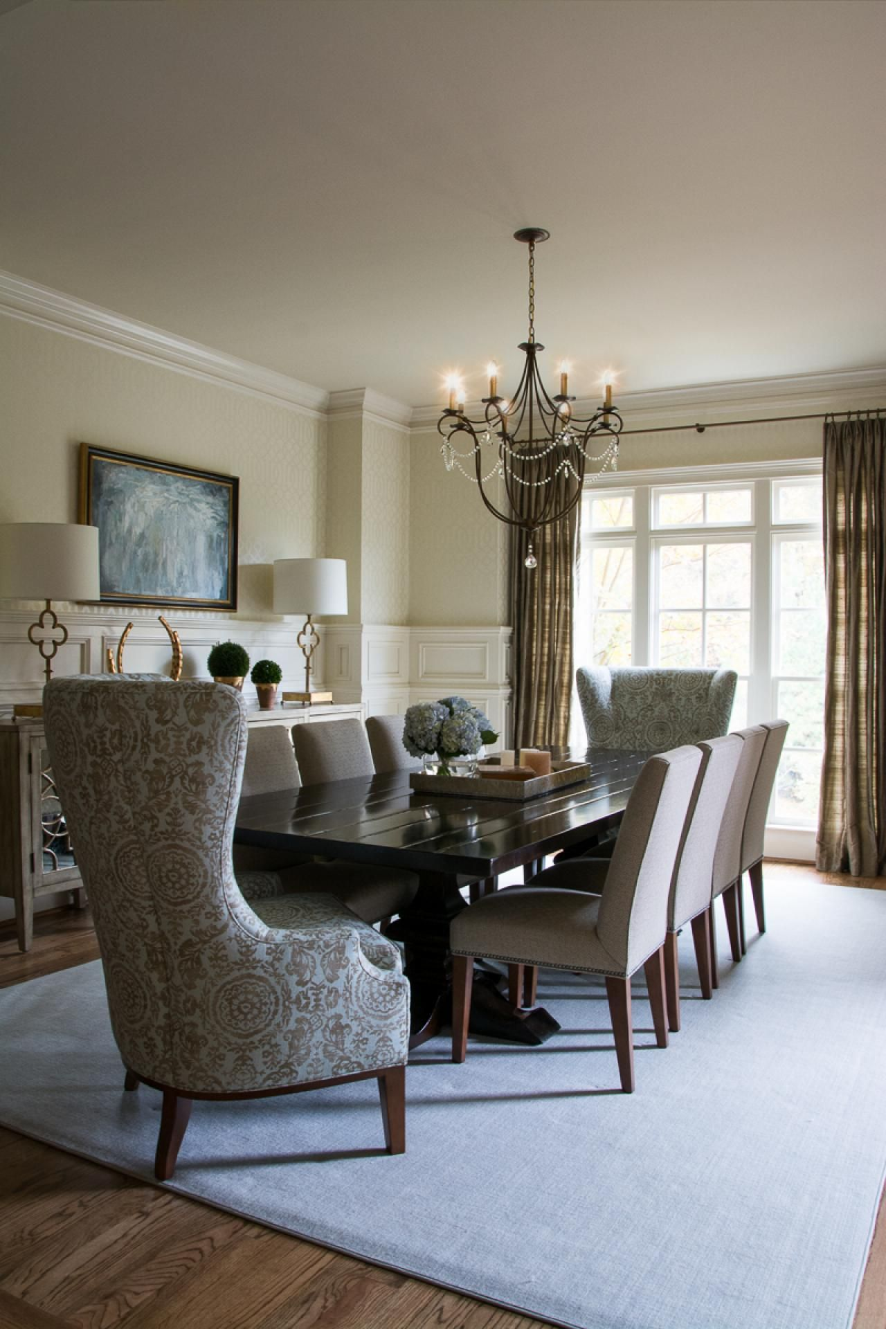 This Glamorous Dining Room Has A Large Dining Table That Holds 10 Mesmerizing Size Of Dining Room Table For 10 Inspiration Design