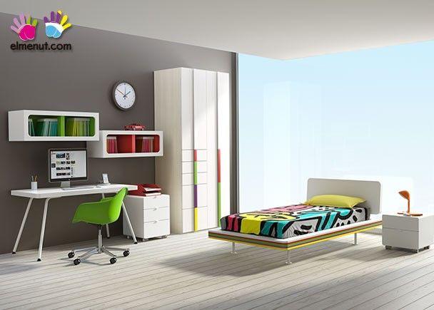 Habitaci n juvenil modular con muchos colores recamara - Color habitacion juvenil ...