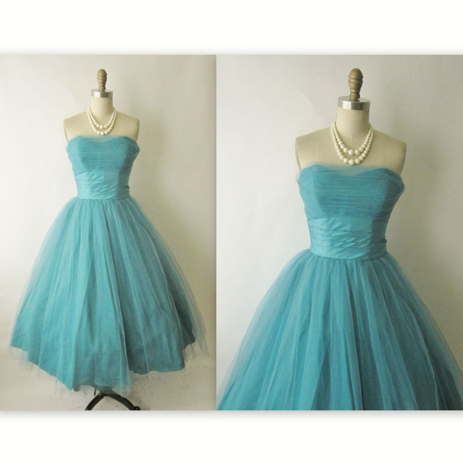 50\'s Prom Dress // Vintage 1950\'s Teal Strapless Tulle Prom ...
