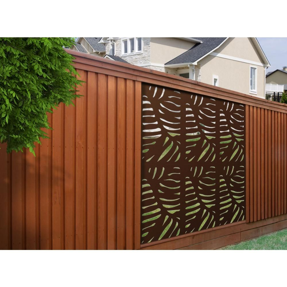 4 Ft X 2 Ft Espresso Brown Modinex Decorative Composite Fence Panel In Cabo Design Usamod1e The Home Depot Fence Design Fence Panels Outdoor Privacy