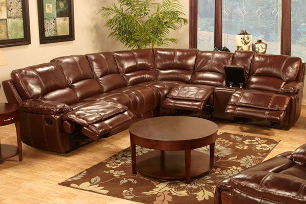 Best Kimberly 7 Piece Leather Reclining Sectional Leather 640 x 480