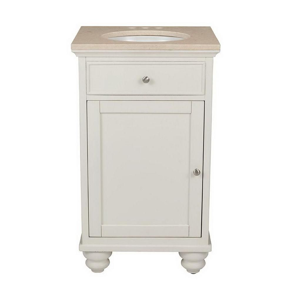 Belle Foret 20 In. Vanity Cabinet In White With Marble Vanity Top In Cream-