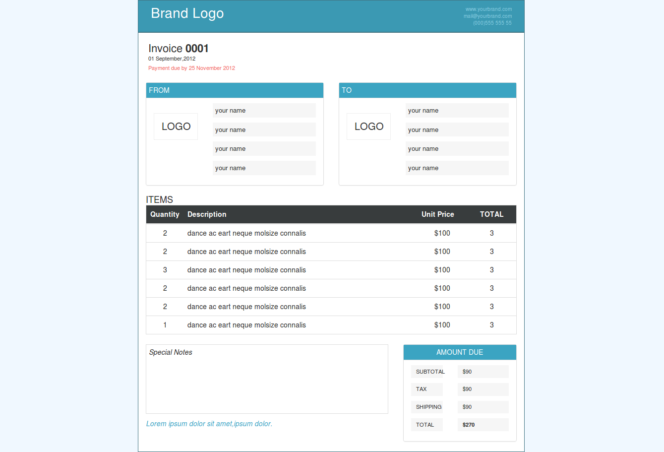 Invoice Page Design Using Html Css And Bootstrap Html Css Page Design Css