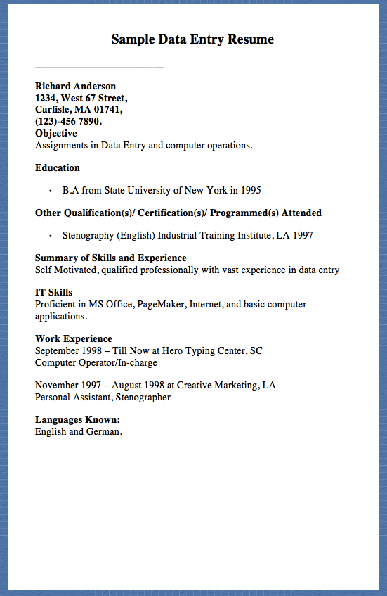 Sample Data Entry Resume Richard Anderson 1234 West 67 Street