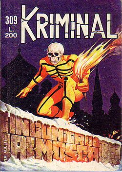 Kriminal is an Italian comics series featuring an eponymous fictional character, created in 1964 by Magnus and Max Bunker, the authors of Alan Ford, Maxmagnus and Satanik. Description from quazoo.com. I searched for this on bing.com/images