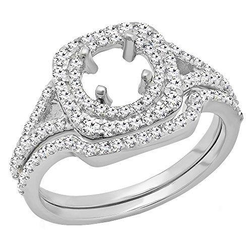 0 80 Carat Ctw 10k White Gold Round Diamond Semi Mount Engagement Ring Set 3 4 Ct Size Womens Engagement Rings Semi Mount Engagement Rings Bridal Ring Sets