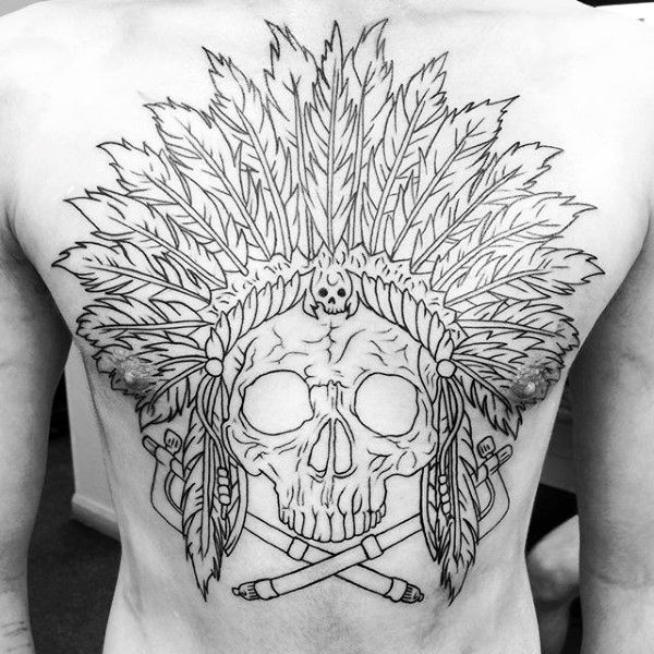 Cool Guys Indian Skull Back Tattoo With Black Ink Outline