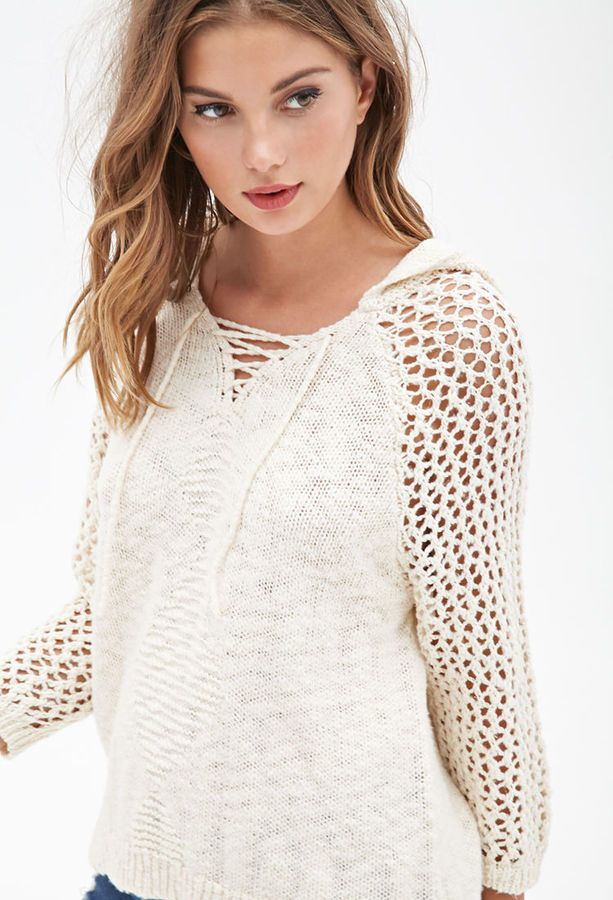FOREVER 21 Hooded Open-Knit Sweater