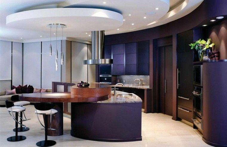 cocina moderna isla interesante purpura ideas | Interiores para ...