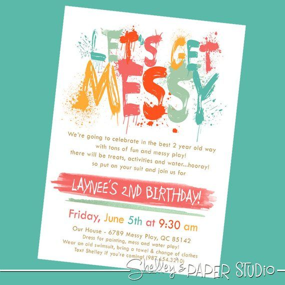 Messy Art Boy Birthday Invitation