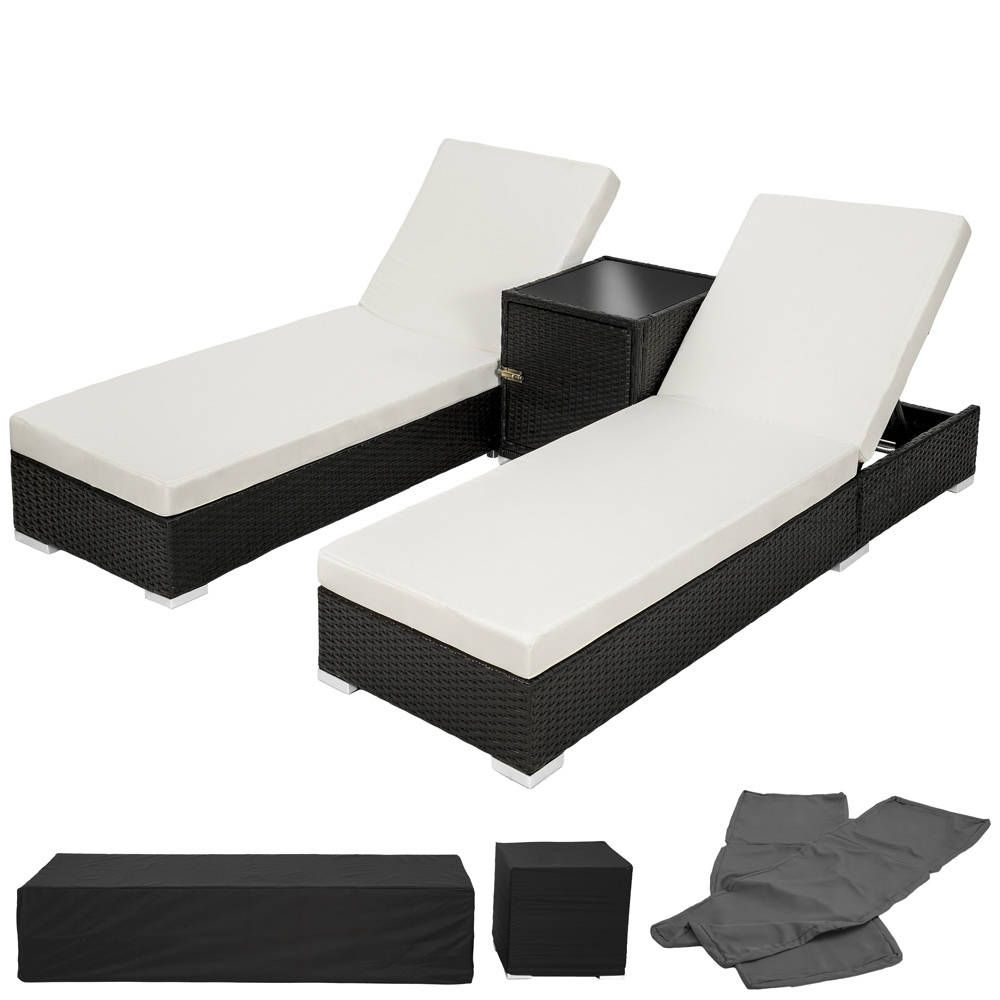2 sonnenliegen rattan mit aluminiumgestell und tisch inkl schutzh lle pinterest rattan. Black Bedroom Furniture Sets. Home Design Ideas