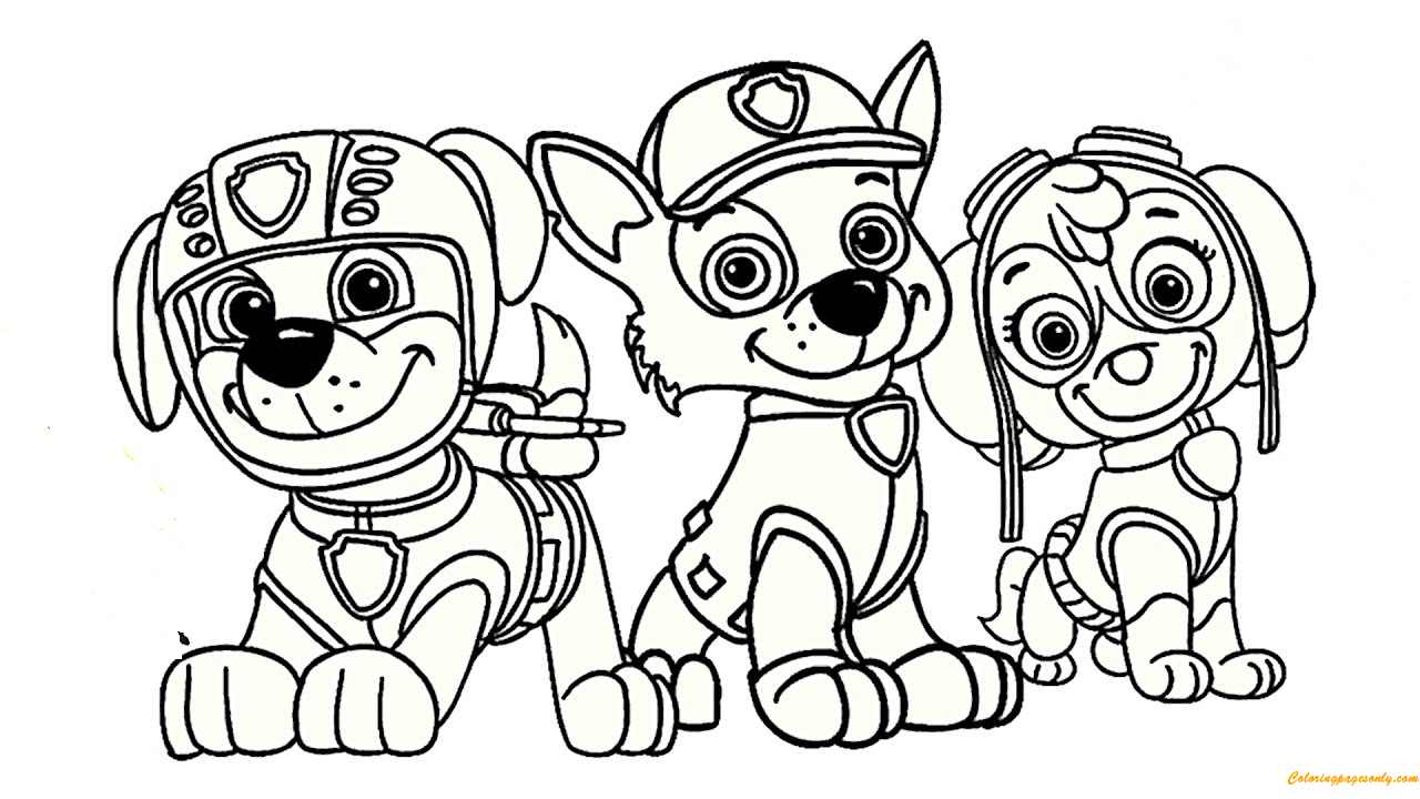 Paw Patrol Rocky Skye And Zuma Coloring Page Free Coloring Pages Online Paw Patrol Coloring Paw Patrol Coloring Pages Cartoon Coloring Pages