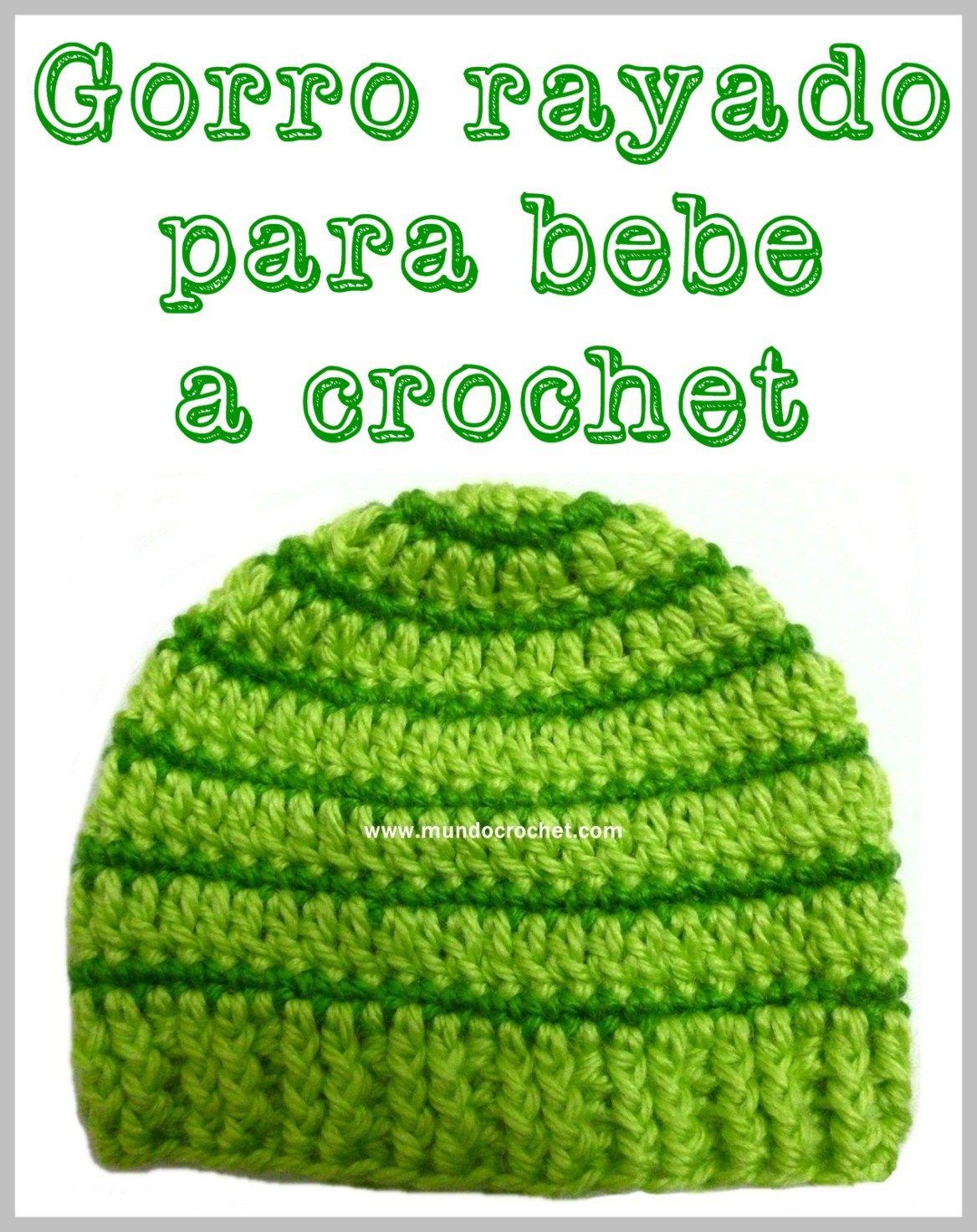 fcf212147 Patron gorro rayado para bebe a crochet o ganchillo