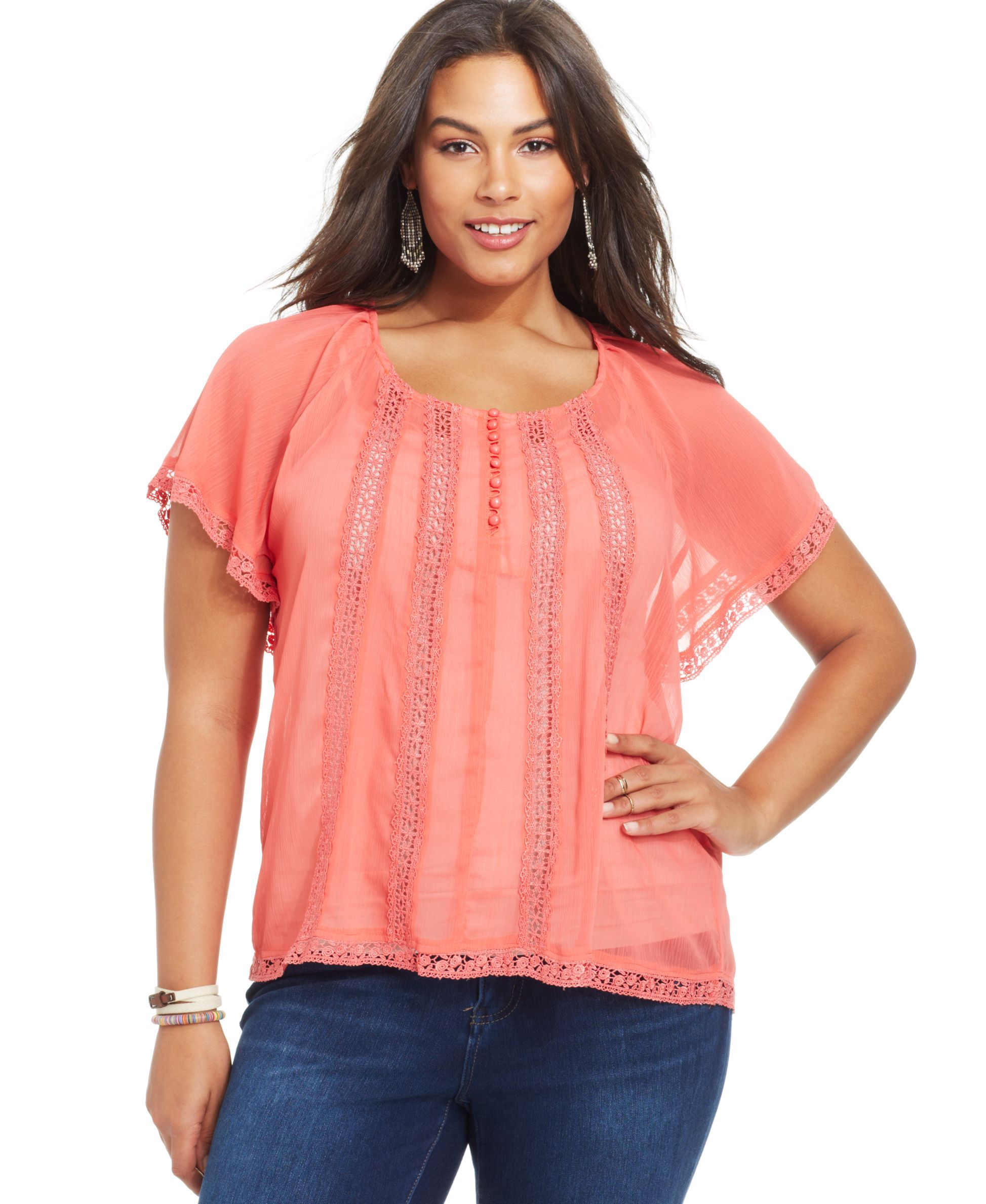 American Rag Plus Size Lace-Trim Chiffon Top