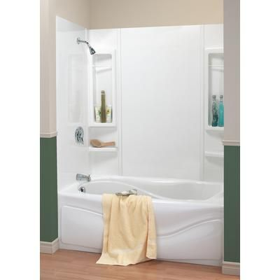 Wonderful White Acrylic Soaking Bathtub With Chrome Shower Tub Combo Also  Built In Caddy Bath Also Green And Cream Wall Painting As Decorate Half  Bathroom. MAAX   59   PANAMA tub wall kit   101646 000 129 000   Home Depot