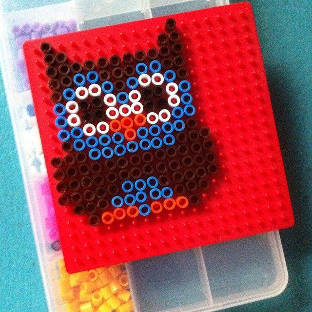 Owl hama beads by Jessica Sánchez