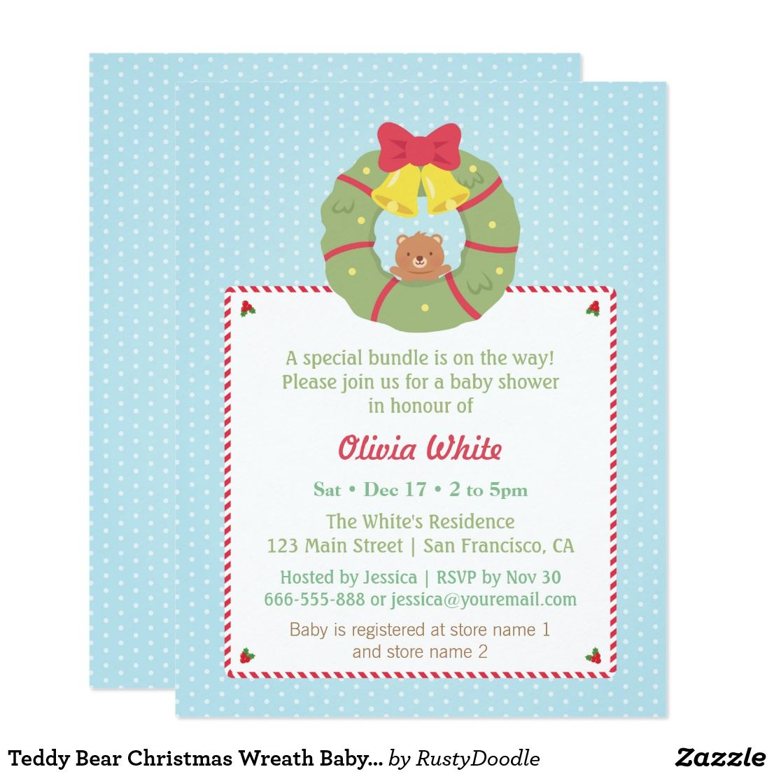 Enchanting Christmas Baby Shower Invites Motif - Invitations Example ...