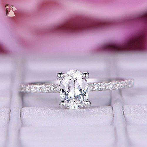 Oval White Topaz Engagement Ring Pave Diamond Wedding 14K White Gold 6x8mm - Wedding and engagement rings (*Amazon Partner-Link)