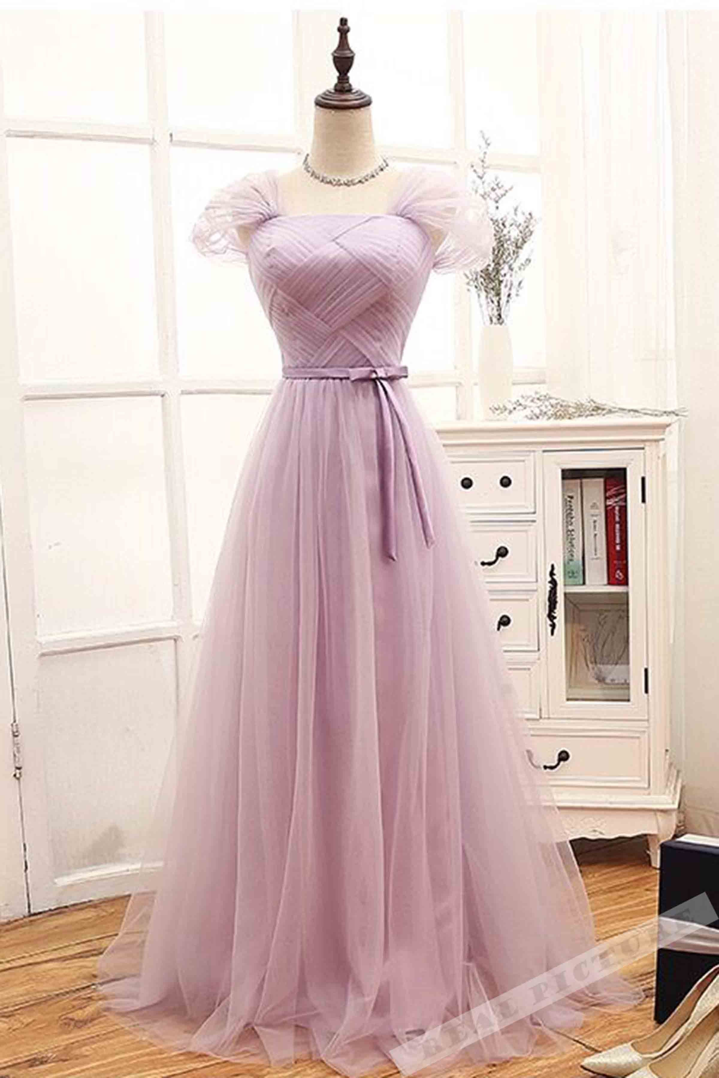 Lavender tulle cap sleeves A-line lace up long prom ...