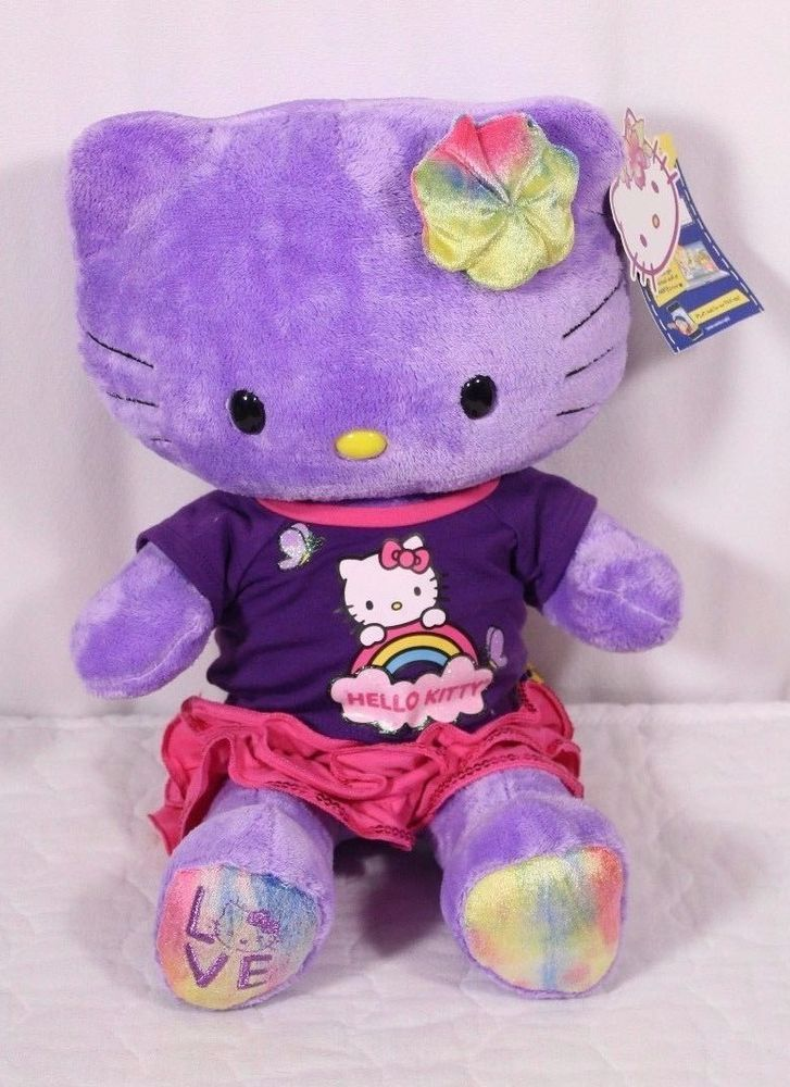 "HELLO KITTY Build A Bear Limited Edition 19"" Purple Tye Dye Love Shirt Skirt Bow #BuildaBear #AllOccasion"