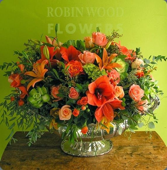 Orange Flower Arrangements For Weddings: Orange Flower Arrangement With A Touch Of Green