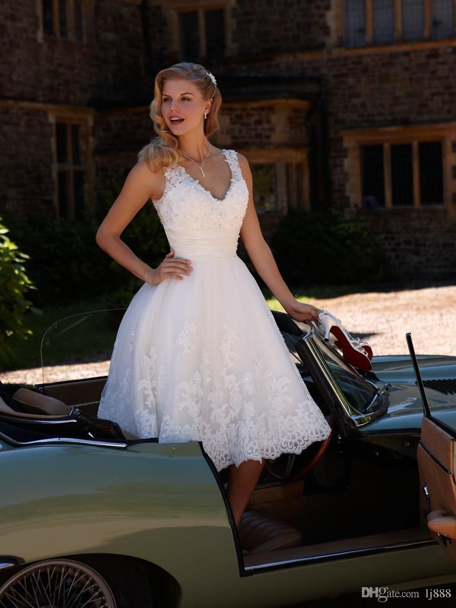 Vintage Wedding Dresses Cheap Plus Size 2015 New Simple Scoop Neck A Line Tea Leng Elegant Bridal Gown Wedding Dresses Taffeta A Line Wedding Dress Sweetheart [ 890 x 1000 Pixel ]