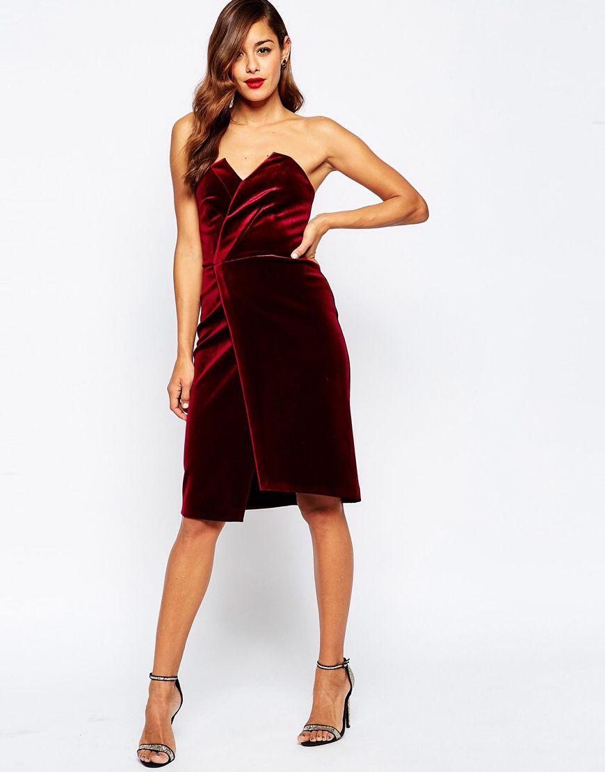 bb9d36ab1710 Velvet Asymmetric Bandeau Midi Dress