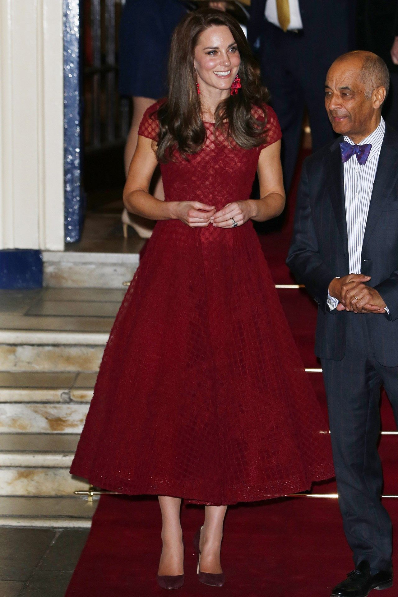 1c8a940e The Duchess of Cambridge wearing a red Marchesa dress to the opening night  of 42nd Street at the Theatre Royal Drury Lane