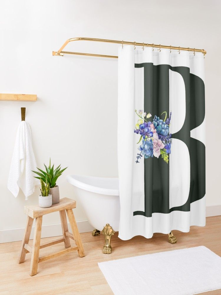 Letter B Shower Curtain By Atevern Shower Curtain Letter