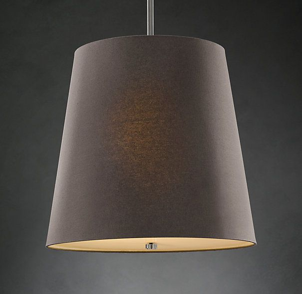 nice and simple for the guest room..  Barrel Shade Pendant - Grey Linen