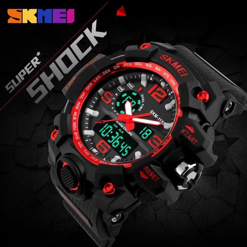 23fc4af33 SKMEI New S Shock Men Sports Watches Big Dial Quartz Digital Watch For Men  Luxury Brand LED Military Waterproof Men Wristwatches