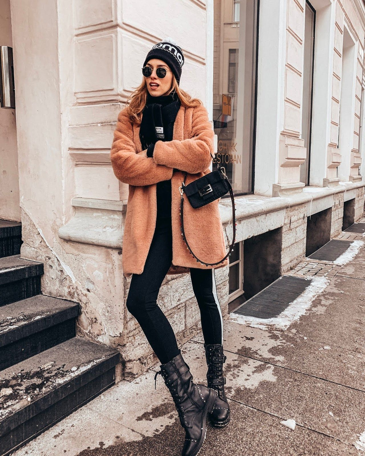 b8fb3c78454 pink faux fur coat acne scarf fendi baguette bag ray ban round sunglasses  beanie winter outfit