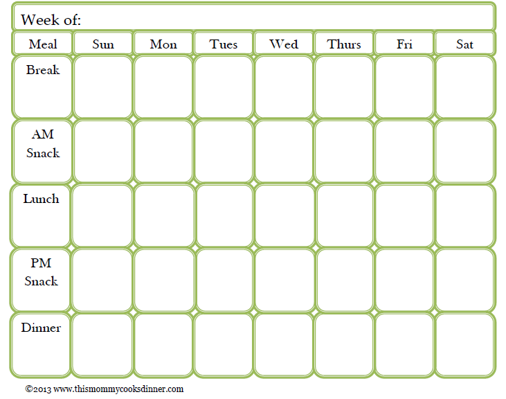 Blank Meal Plan Template NwmxOPU4  Menu Calendar Template