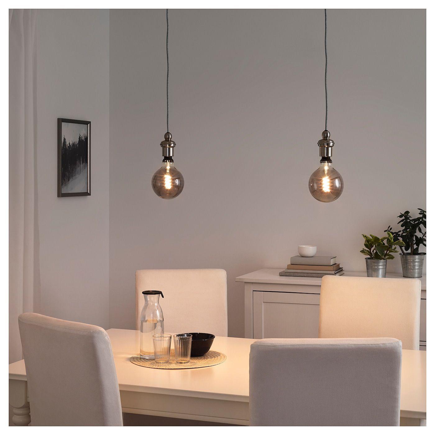 Rollsbo Led Leuchtmittel E27 200 Lm Dimmbar Rund Klarglas Grau 125 Mm Ikea Österreich Hängande Lampa Glödlampa Lampor