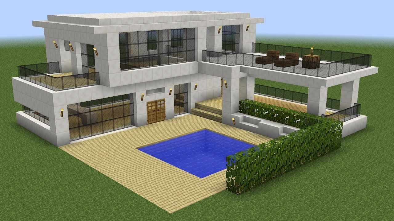 Minecraft How To Build A Modern House 5 Youtube Cute Minecraft Houses Minecraft Modern House Designs Minecraft Modern