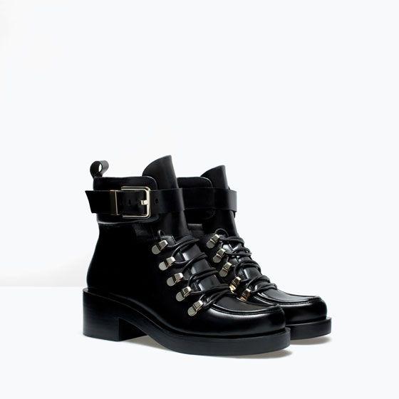 95a3f44153f25f Image 2 de BOTTINES CUIR LACETS de Zara Bottines Cuir, Chaussures Femme,  Zara Femme