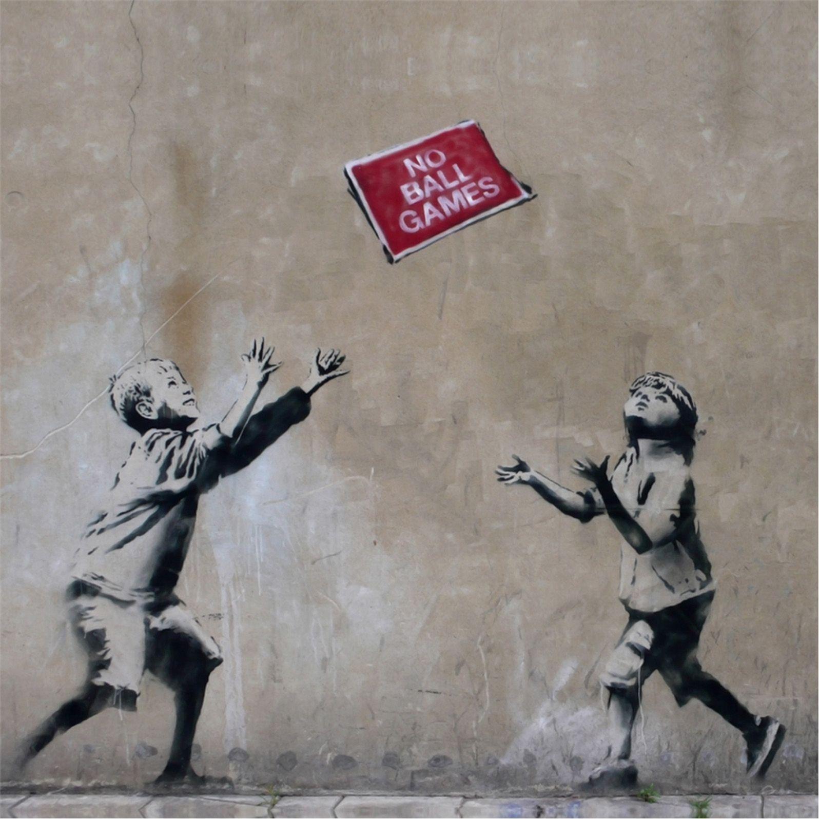 "Banksy ""No ball games"" framed art print Banksy"