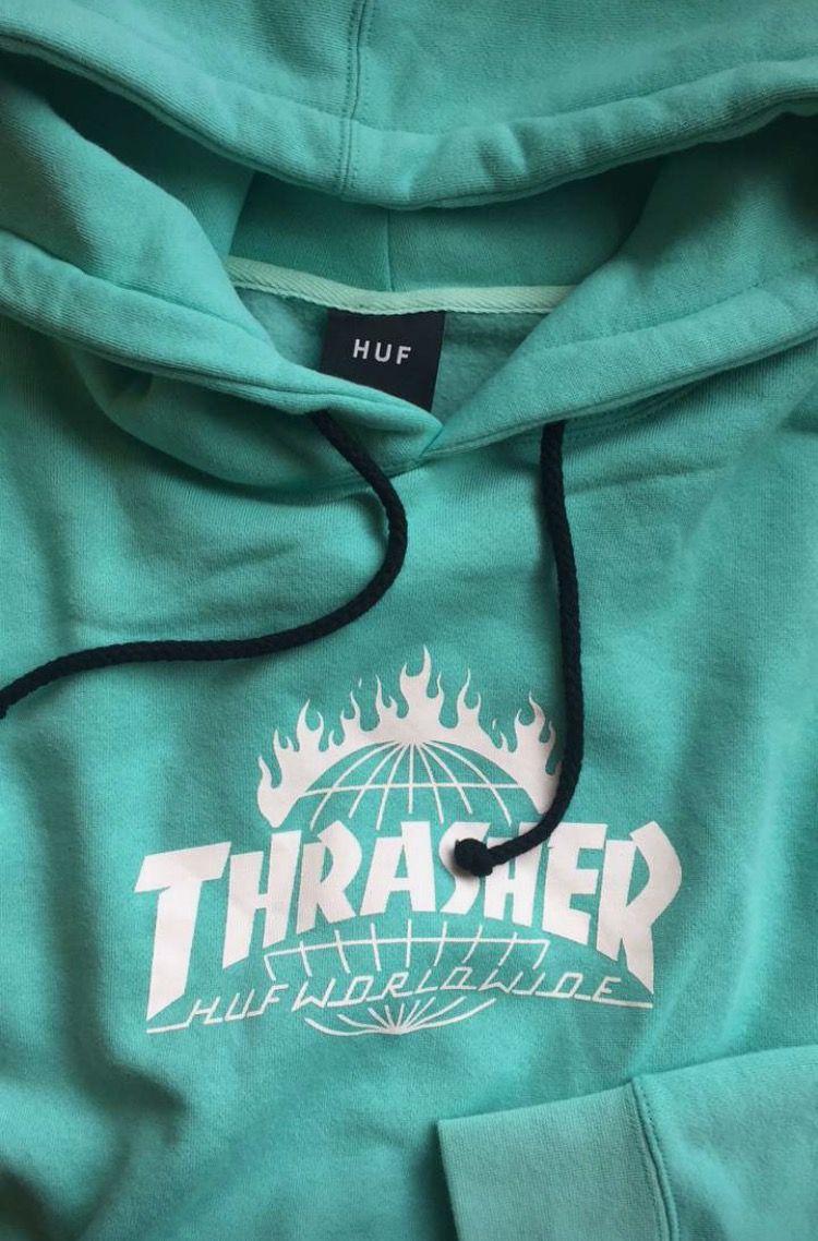Huf X Thrasher Tds Mint Pullover Hoodie Sweatshirts