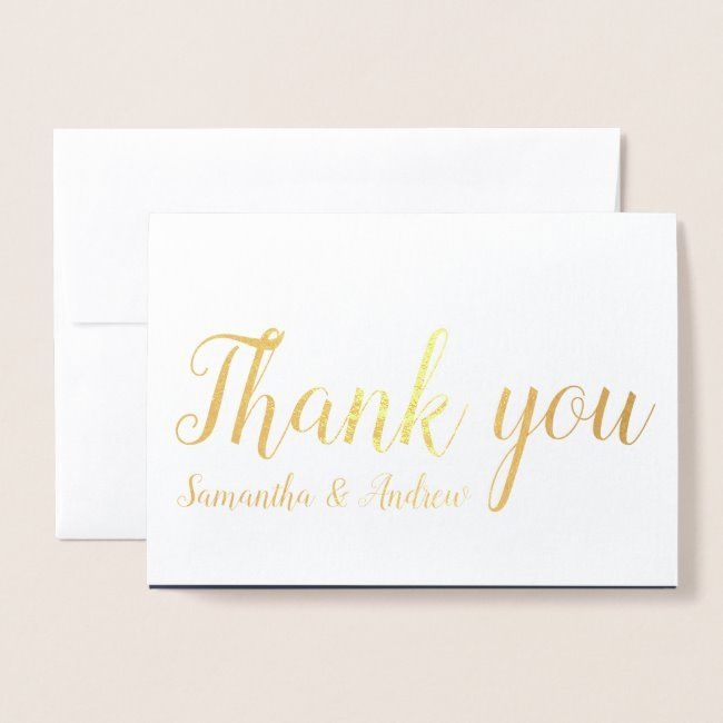 chic gold foil thank you typography wedding photo foil
